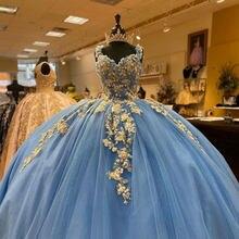 Eleganckie światła niebieska suknia balowa Quinceanera sukienki kwiat aplikacja słodka 16 sukienka suknie na bal maturalny z złota aplikacja vestido de 15 anos