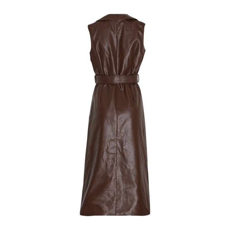 Kadın Giyim'ten Elbiseler'de CHICEVER Bir Çizgi Deri Elbiseler Kadınlar Için Yaka Kolsuz Kapalı Omuz Yüksek Bel Sashes Ile Elbise Kadın Moda Yeni Elbise'da  Grup 2