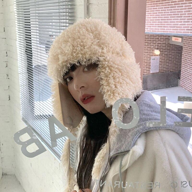 Женская плюшевая шапка, зимняя популярная новинка, универсальные ушанки, Корейская Милая теплая вязаная шерстяная шапка