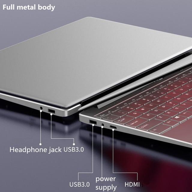 Max RAM 32GB Rom 2TB SSD Ultrabook Gaming Laptop Computer 2.4G/5.0G Wifi Bluetooth Intel Celeron 5205U Metal Windows 10 Laptop 3