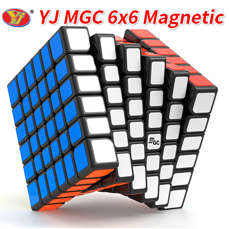 New YJ MGC 6x6 Magnetic Black Speed Cube YJ MGC M Stickerless  6x6x6 Puzzle Yongjun Magico Cubes Toys For Children