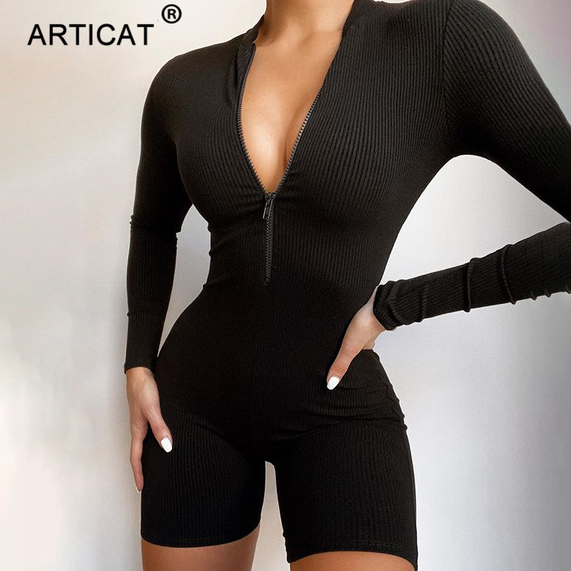 Articat Casual Bodycon Playsuit Women Front Zipper Long Sleeve Black Skinny Romper Bodysuit Female Running Wear Biker Shorts