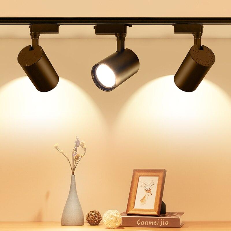 Whole Set LED Track Lights 12 20 30 40W 220V COB Track Lamp Rail Spotlights Track Lighting Fixture Spot Lights for Home Store