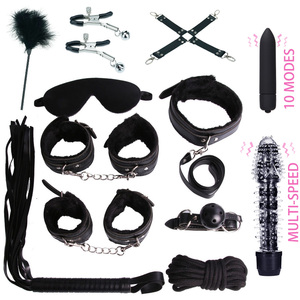 Image 4 - Lots Sex Toys for Woman Handcuffs Nipple Clamps Butt Anal Plug Vibrator BDSM Bondage Set Erotic Goods Couples Games for Adults