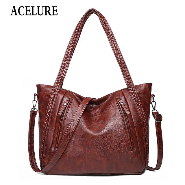 Top-Handle Bags Women Fashion Luxury High Capacity Women Shoulder Messenger Bags Designer High Quality Leather Handbag ACELURE