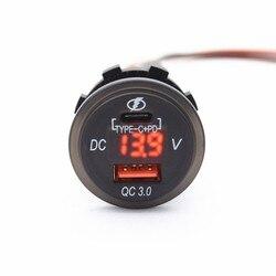 Wodoodporny 12 V 24 V typu C PD KK 3.0 ładowarka samochodowa USB z LED woltomierz zasilacz dla smartfonów