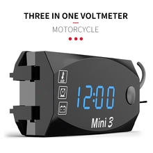 Voltmeter Digital Motorcycle-Thermometer Led-Display Universal 24V 12V Waterproof 6V-30V