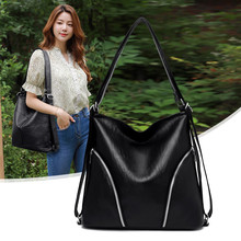 Large Capacity Women Hobos Shoulder Bag Female Double Zipper Messenger Bag Soft PU Leather Handbag Ladies Crossbody Casual Totes