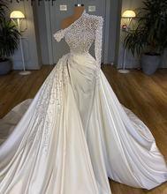 2021 Роскошные свадебные платья из жемчуга с открытыми плечами