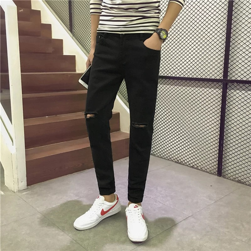 Fashion Man 2017 New Style Black Jeans Knee A- Line Broken Skinny Pants Korean-style Slim Fit Beggar With Holes Trousers
