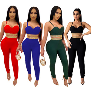 Winter Women sets Strap Crop Top Pants Suits Solid Sexy Backless Tracksuits Hot Drilling Two Piece Suit Fashion Sheath GL2793