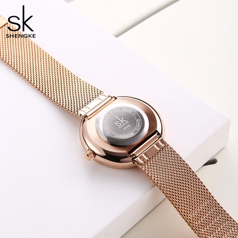 Image 5 - Shengke robe femmes montres femmes métal maille mode horloge Vintage Design dames montre 2020 SK marque de luxe classique relogioMontres femme   -