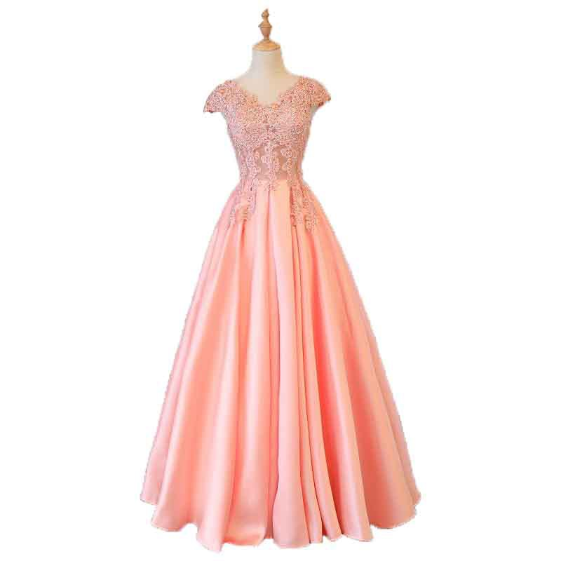 Beauty Emily Gorgeous 2020 Long Lace Appliques Pink Evening Dresses V Neck Sleeveless Pleated Prom Gown For Ceremony Party Dress 6