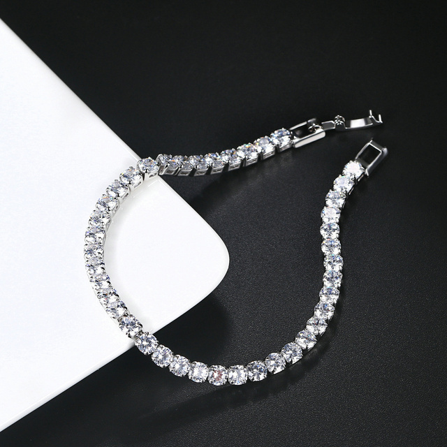 ZHOUYANG Tennis Bracelets For Women Simple Luxury Round Crystal Gold Color Bangle Chain Wedding Girl Gift Wholesale Jewelry H074 3