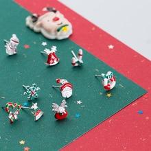 цена на 925 Silver Cute Snowflake Snowman Bell Christmas Series Stud Earrings For Women Birthday Christmas Gift Jewelry