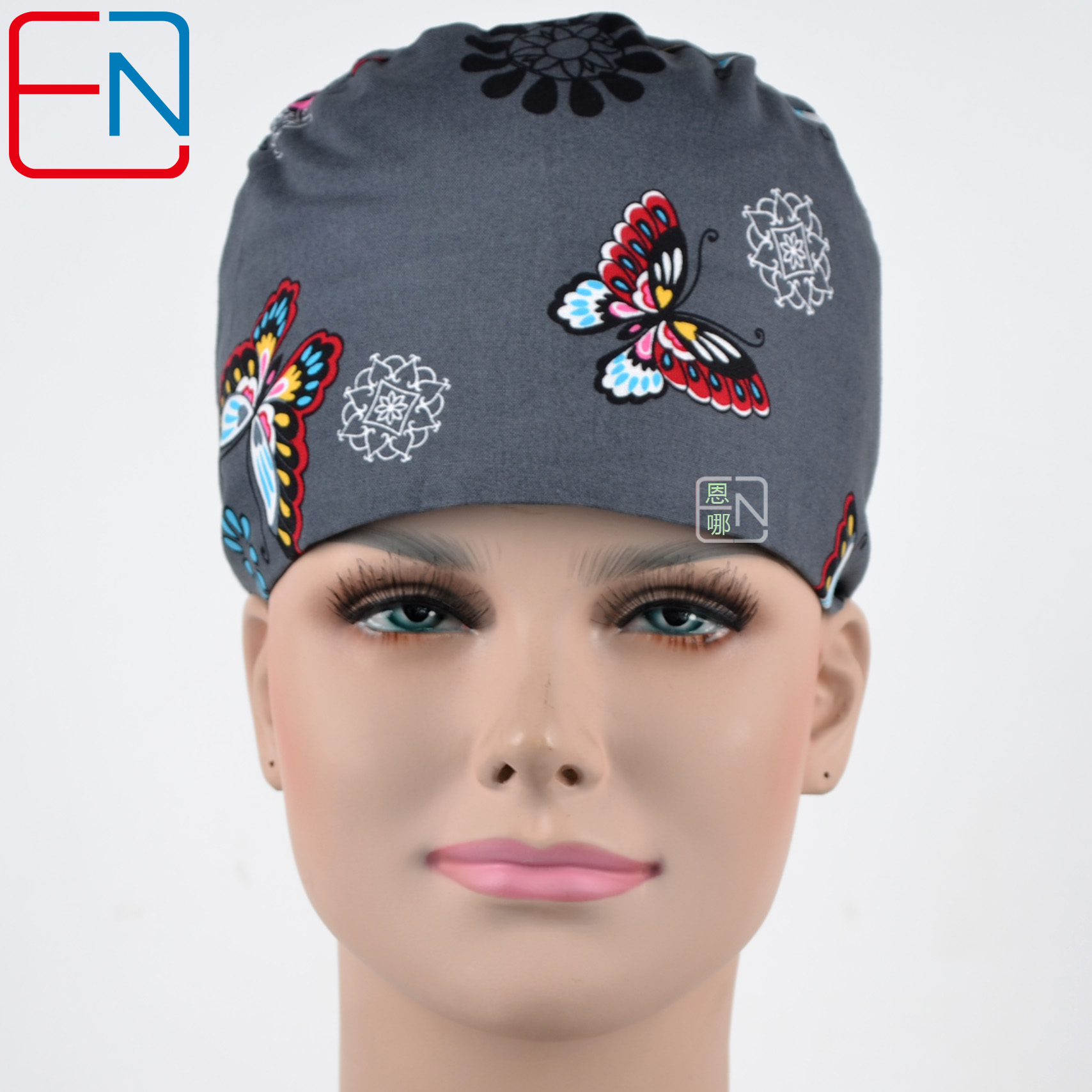 Hennar Womon Scrub Caps  100% Cotton Adjustable Elastic Bands Surgical Scrub Caps Print Medical Caps In Grey With Butterfly