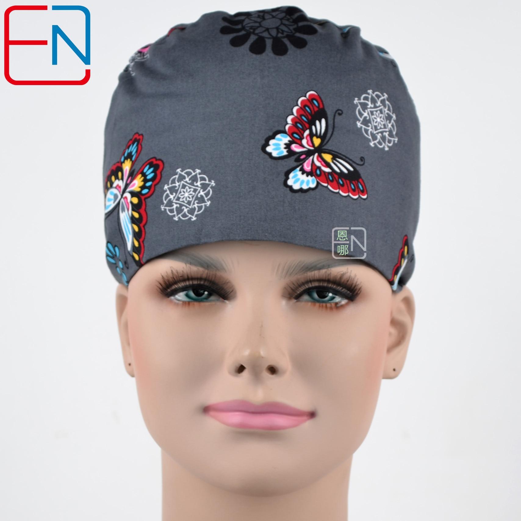 Hennar Womon Scrub Caps Masks 100% Cotton Adjustable Elastic Bands Surgical Scrub Caps Medical Hospital Doctor Headwear Cap Mask