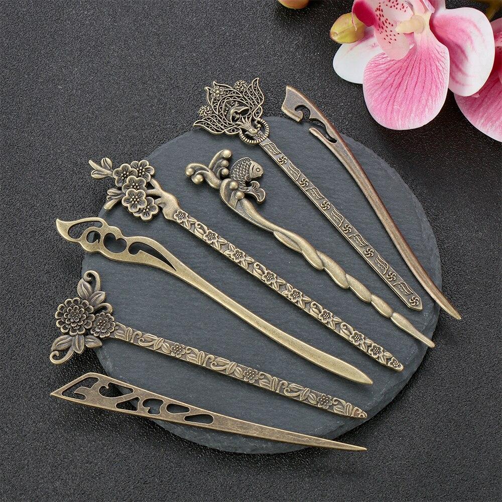 Модная бронзовая винтажная стандартная металлическая шпилька для волос, изогнутая вилка для волос, изогнутая шпилька для волос, инструмент...