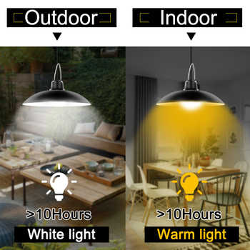 Acecorner Remote Control Solar Pendant Light Double Head Outdoor Indoor Solar Lamp Lighting for Camping Garden Yard Barn Farm