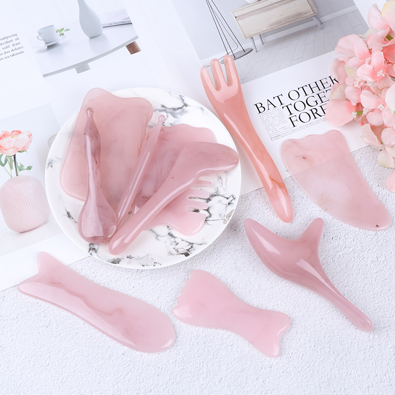 9 Styles Natural Rose Quartz Stone GuaSha Facial SPA Massage Gua Sha Board Body Massager China Traditional Scraping Healing