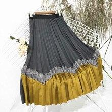 Осень, новинка, Женская длинная Плиссированная юбка, женские клетчатые юбки, подходящие по цвету