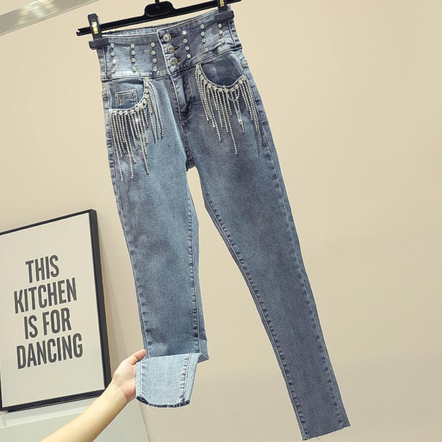 2020 Spring Autumn New Fashion Heavy Industry Jeans Women Tassel Diamond Pockets High Waist Slim Elastic Pencil Jeans