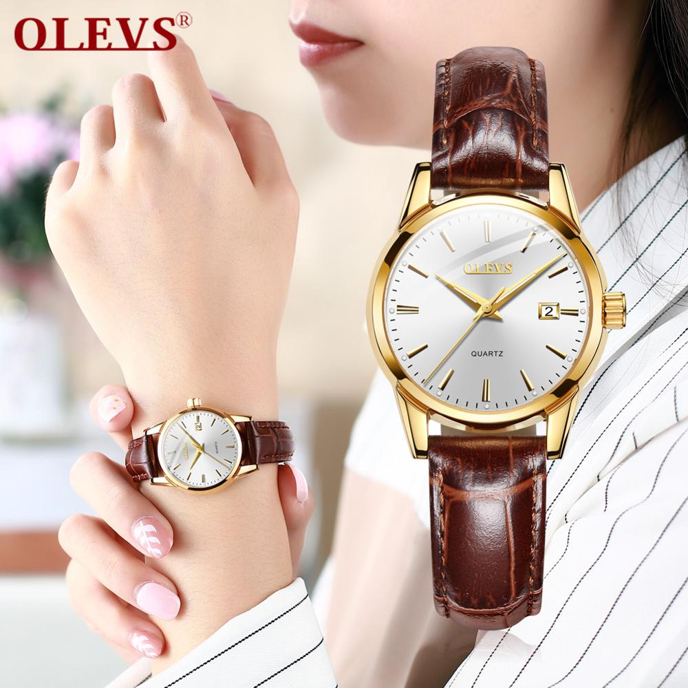 OLEVS Simple Fashion Ladies Watches Clock Relojes Mujer 2018 Leather Day Date Watch Women Luminous Hands Waterproof Wist Watches