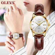OLEVS simple fashion Ladies watches clock relojes mujer 2018 leather day date watch women Luminous Hands waterproof Wist watches olevs charm men business watches luminous hands clock watch day and date stainless steel bracelet waterproof wristwatch for man