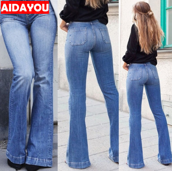 Womens Fashion High Waist   Jeans   Flares Casual Wide Leg Denim Pants Blue Sexy Long Pants bell-bottoms ouc567a