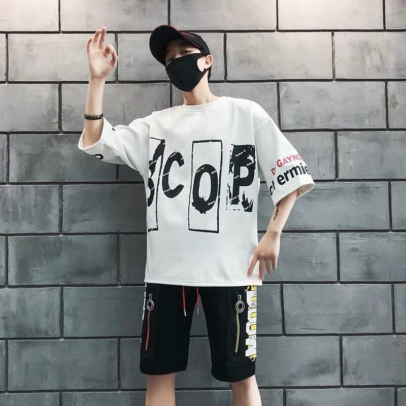 NiceMix Two Piece Set Men Clothes Suit Summer Tops & Shorts Clothes Boys Youth Sports Students Korean Ropa Hombre Tracksuit Men