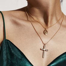 Fashion Multiple Layers Cross Necklaces For Women  Boho Religious series classic coin pendant necklace Christian Jewelry