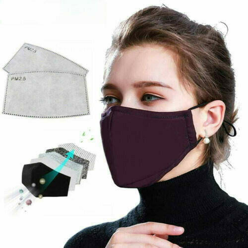1Pc Cotton Black Mask Mouth Face Mask Anti PM2.5 Dust Mouth Mask With1pc Activated Carbon Filter Black Mask Fabric Face Mask