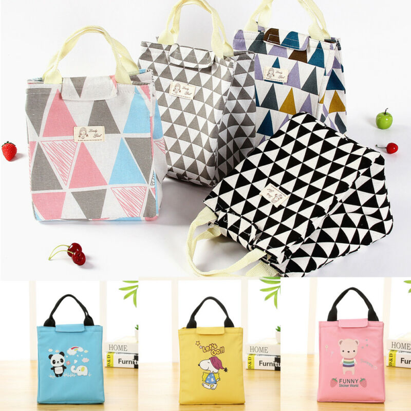 NoEnName-Null Large Insulated Lunch Bag Cute Cartoon Cooler Picnic Travel Food Box Women Tote Carry Bags