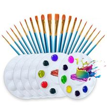 26pcs/set Artist Paint Brush Nylon Hair Watercolor Acrylic Oil Painting Palette L9BA 12 wood artist paint brush suits wood palette nylon hair watercolor acrylic painting brush artistic supplies