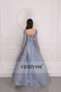 Image 4 - Luxury Evening Dress 2020 Long Sleeve A Line Shiny Crystal Beaded Lace Evening Party Gown Robe de Soiree NE67
