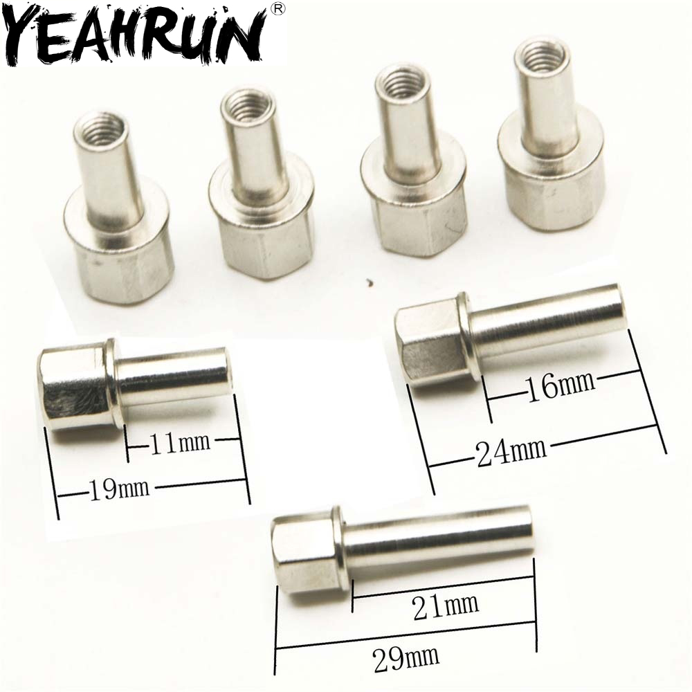 YEAHRUN  4 Pcs/set Metal Nuts For Rc Car 12mm Wheel Hub Hex Drive Adapter Extension
