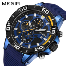 MEGIR Men Watches Top Brand Luxury Chronograph Sport Watch Silicone Quartz Military Watches Clock Relogio Masculino Reloj Hombre