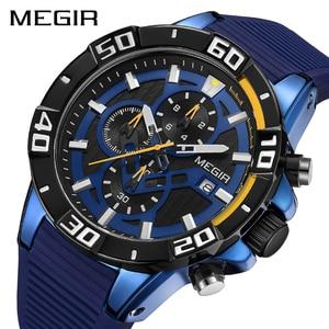 Image 1 - MEGIR мужские часы, лучший бренд, роскошные хронограф, спортивные часы, силиконовые кварцевые военные часы, часы, Relogio Masculino Reloj Hombre