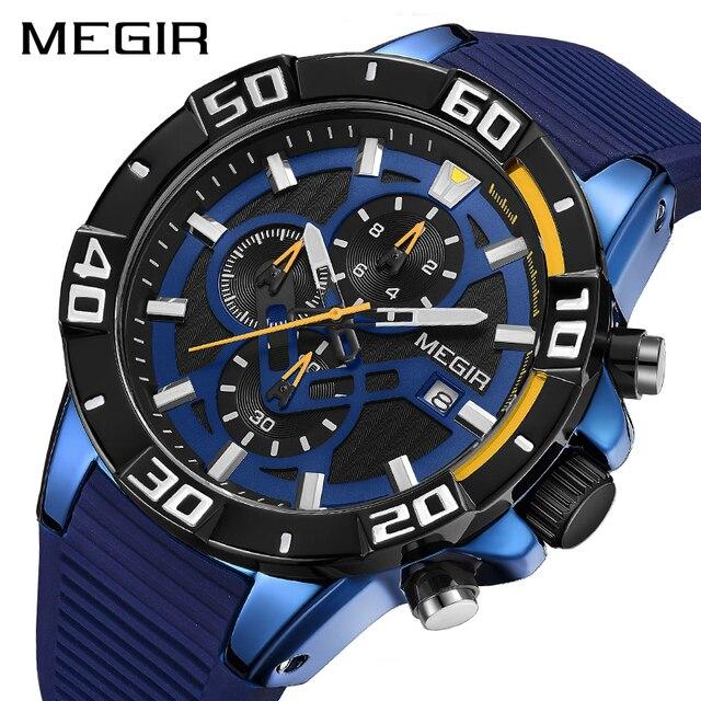 MEGIR мужские часы, лучший бренд, роскошные хронограф, спортивные часы, силиконовые кварцевые военные часы, часы, Relogio Masculino Reloj Hombre