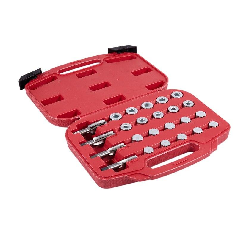 64 pièces bouchon de vidange de carter d'huile Kit d'outils de réparation de filetage M13 M15 M17 M20 ensemble d'outils de réparation de filetage outil de réparation automatique