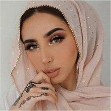Продукт Diamond шифон Для женщин длинные Hijab шарф Мусульманский женский Хиджаб Шапки Ислам Костюмы турецкий тюрбан шаль, повязки на голову