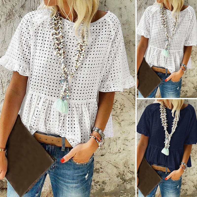 Oversized Tunic Women's Hollow Out Blouse 2020 ZANZEA Fashion Summer Lace Tops Short Sleeve Shirts Female O Neck Casual Blusas