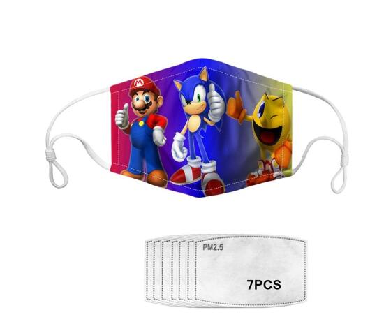 Hot Sale Funny Sonic Super Game 3D Digital Printed Face Masks Mario Cotton Anti-fog Breathable Face Masks Clothing Accessories