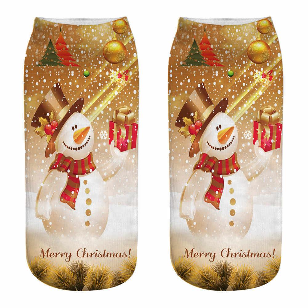 40 ^ ฤดูหนาวผ้าฝ้ายตรงคริสต์มาสถุงเท้าผู้หญิง 3D การพิมพ์การ์ตูน Reindeer Santa Claus Snowflake ถุงเท้าสั้นถุงน่อง 2019
