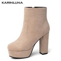 Karinluna/ботильоны наивысшего качества на платформе; женские пикантные вечерние ботинки на высоком каблуке и платформе; обувь с круглым носком...