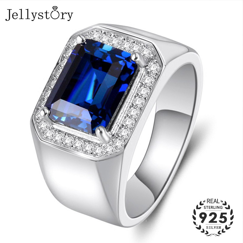 Jellystory Classic Mem Rings 925 Silver Jewellery Rectangle Shape Sapphire Emerald Zircon Gemstones Ring Wedding Gifts Wholesale