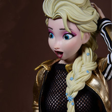 In Stock 1/6 AS043 Female Woman Girl Elsa PVC Head Sculpt with Movable Eyes Golden Hair Model for 12'' Figures  Pale Doll Body