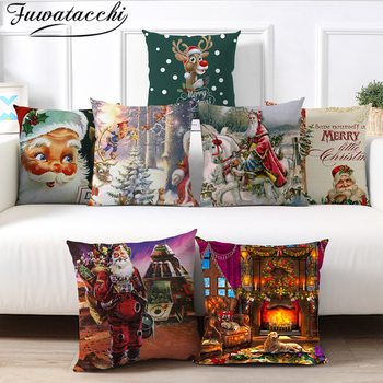 Fuwatacchi Christmas Style Animals Cushion Cover Santa Claus Pillow Case Home Decorative White Pillows Cover For Sofa Car Seat fuwatacchi cute unicorn cushion cover gold stamping throw pillow cover new rainbow christmas decorative pillows for home chair