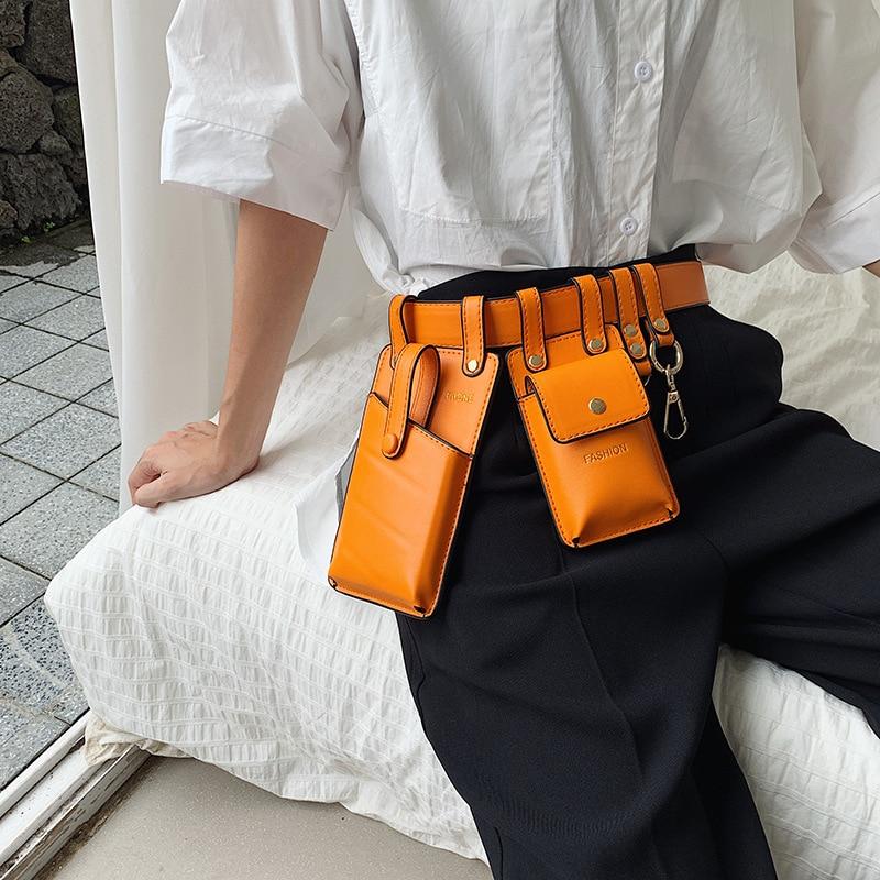 Multi-functional Women Waist Bag Fashion PU Leather Waist Belt Bag Girl Fanny Chest Bag Small Phone Pack Shoulder Strap Bags