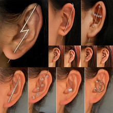 Hook Earrings Needle-Wrap Zircon Stud Crawler Copper-Inlaid Women Diagonal for Surround-Auricle